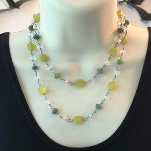 Silpada Sterling Green Jade Crystal Bead Necklace